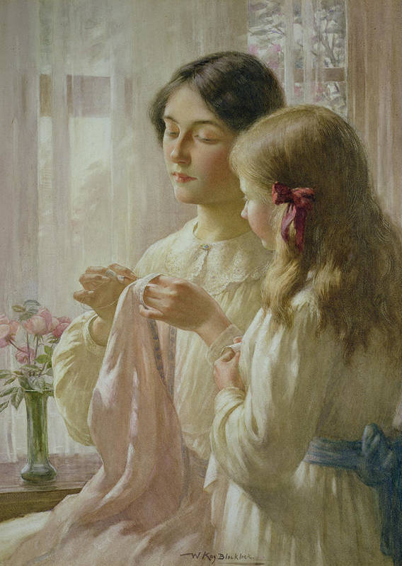 The Art Print featuring the painting The Lesson by William Kay Blacklock