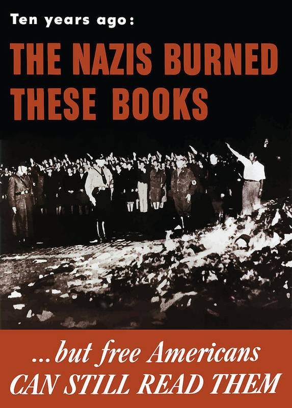 Free Speech Art Print featuring the painting The Nazis Burned These Books by War Is Hell Store