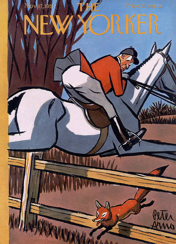 Horse Art Print featuring the photograph The New Yorker Cover - November 17, 1951 by Peter Arno