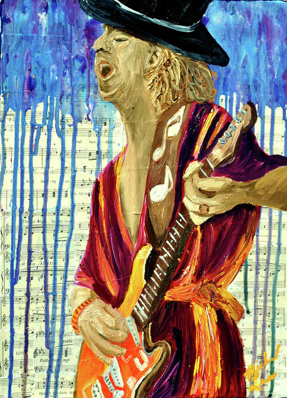 Guitar Player Art Print featuring the painting The Sky Is Crying by Michael Lee