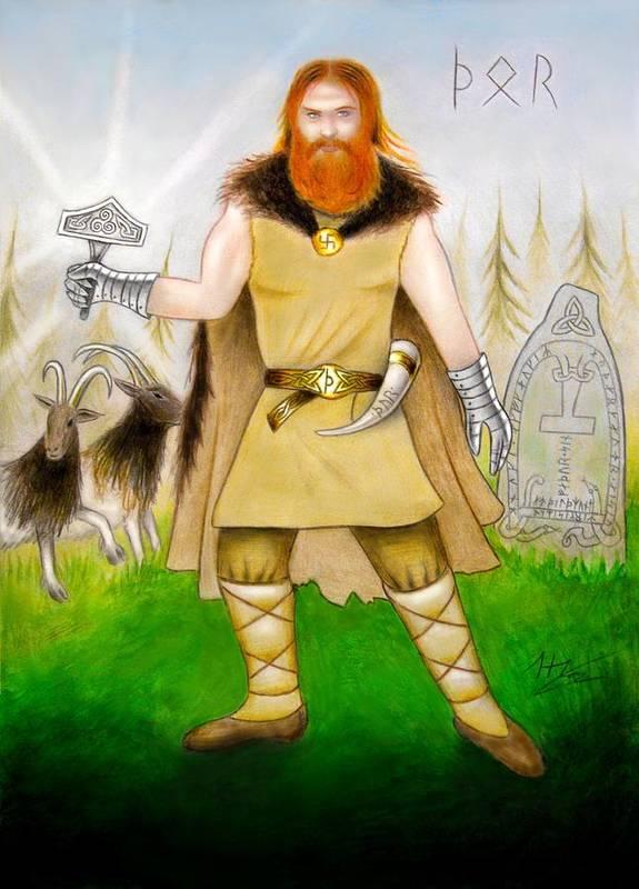 Thor Print featuring the mixed media Thor Odinsson by Ilias Patrinos