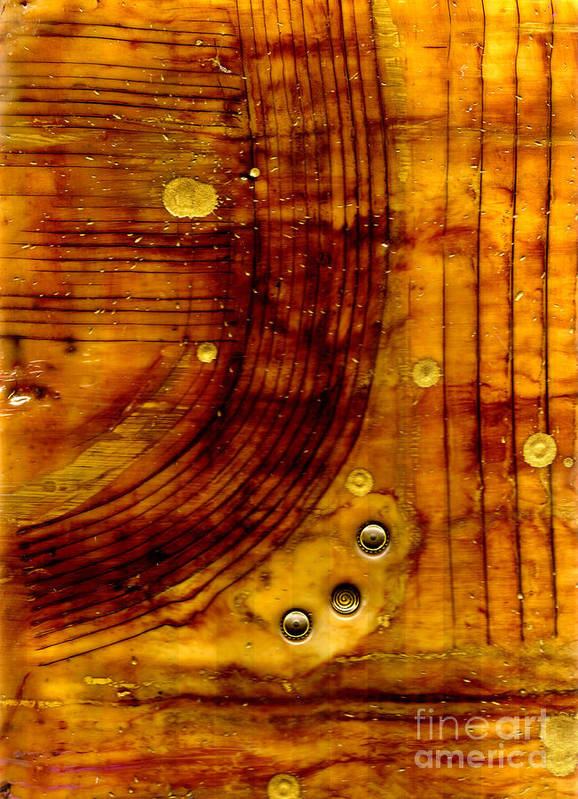 Wood Art Print featuring the mixed media Three Brass Tokens I by Angela L Walker