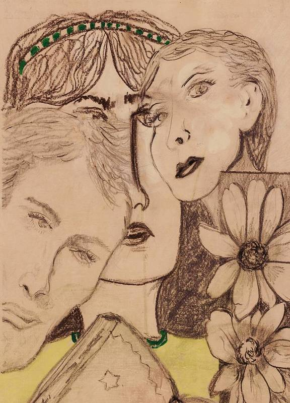 Faces Art Print featuring the drawing Three Faces by JuneFelicia Bennett