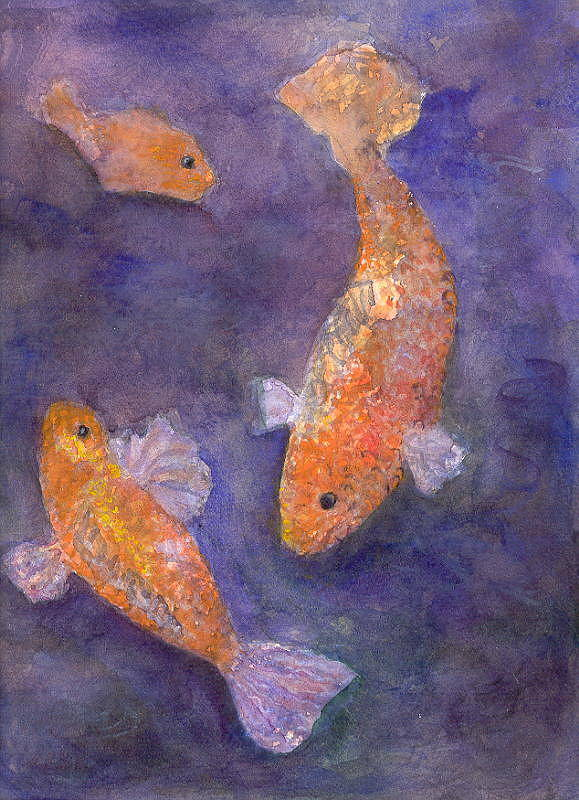 Fish Water Orange Purple Hillaryart Art Print featuring the painting Three Fish by Hillary McAllister