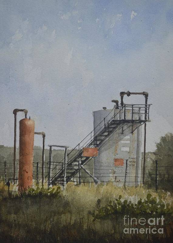 Tweedy Ranch Art Print featuring the painting Tweedy Ranch Tanks by Tim Oliver