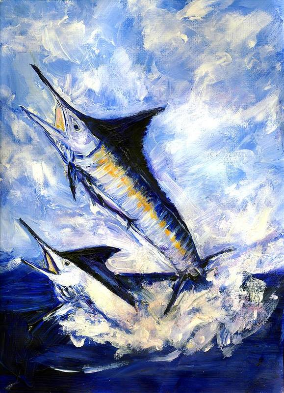 Fish Art Print featuring the painting Two Marlin A Blue And A Striper by Randy Sprout