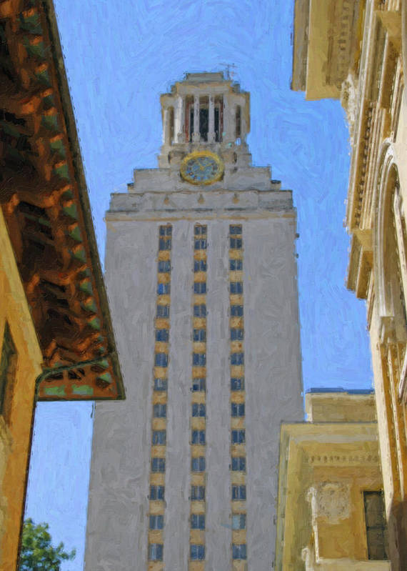 Dallas Print featuring the painting Ut University Of Texas Tower Austin Texas by Jeff Steed