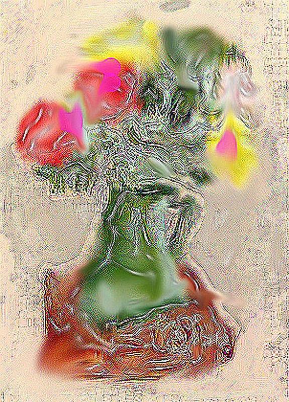 Still Life Art Print featuring the mixed media Vase by Joyce Goldin