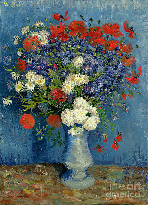 Still Art Print featuring the painting Vase With Cornflowers And Poppies by Vincent Van Gogh
