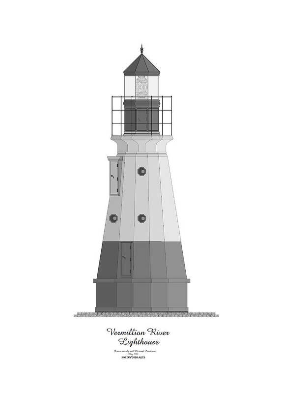 Lighthouse Art Print featuring the painting Vermillion River Lighthouse Architectural Rendering by Anne Norskog