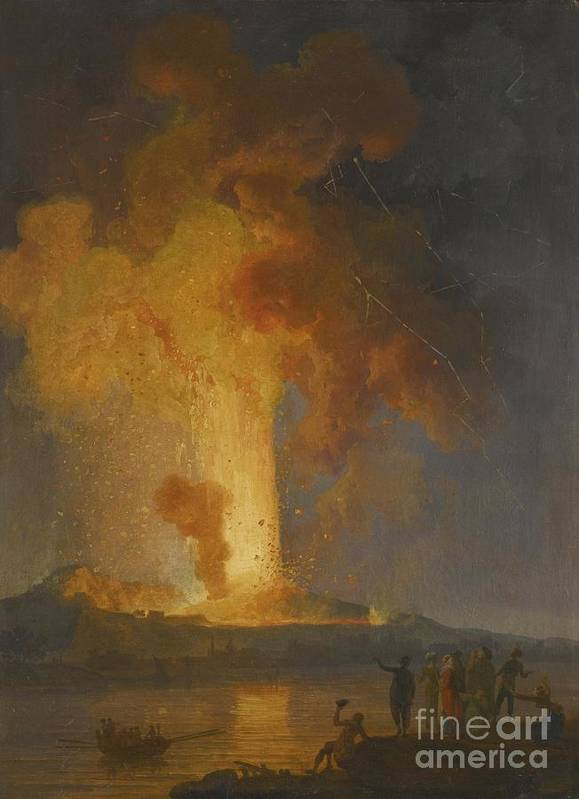 Vesuvius Erupting At Night With Spectators In The Foreground Art Print featuring the painting Vesuvius Erupting At Night With Spectators In The Foreground by MotionAge Designs
