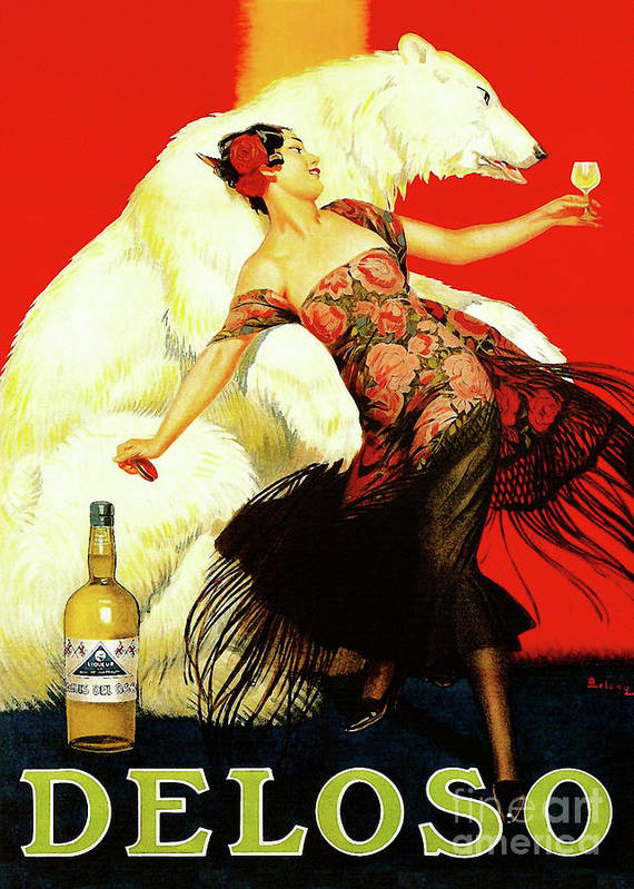Vintage Spanish Wine Ad Art Print featuring the painting Vintage Spanish Liquor Ad, Flamenco Dancer, Polar Bear by Tina Lavoie