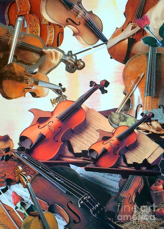 Music Art Print featuring the mixed media Violin Concierto by Judith Espinoza
