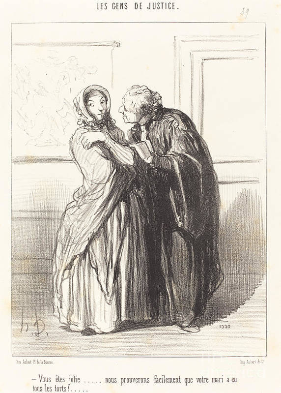 Art Print featuring the drawing Vous ?tes Jolie... by Honor? Daumier