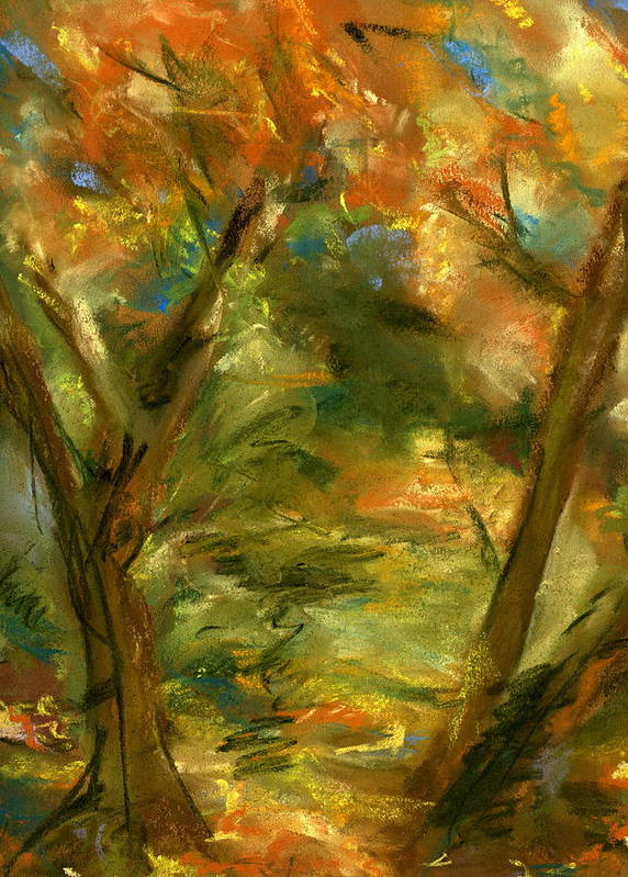 Colorful Art Print featuring the painting Walk In The Park by Marilyn Barton