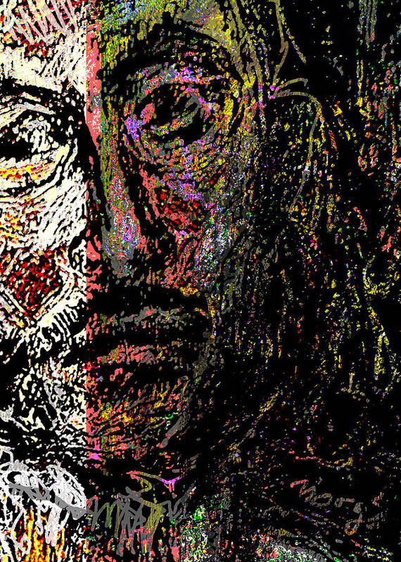 Self Portrait Art Print featuring the painting Warrior Of Love by Noredin Morgan