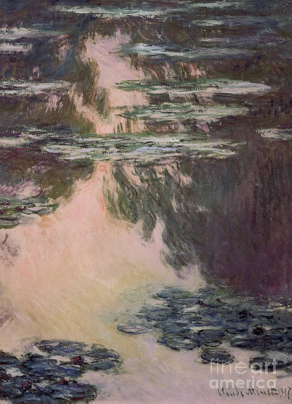 Waterlilies Art Print featuring the painting Waterlilies With Weeping Willows by Claude Monet