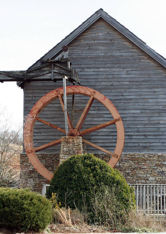 Building Art Print featuring the photograph Waterwheel Of Old by Linda A Waterhouse