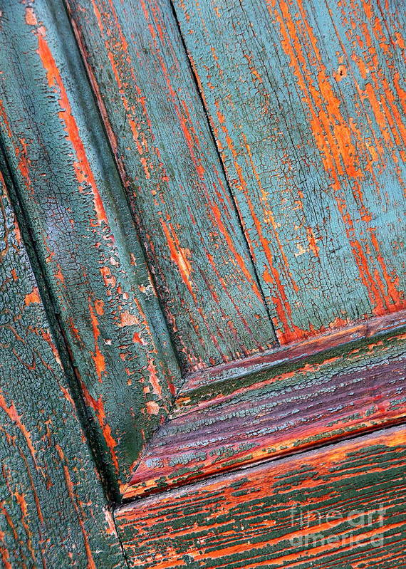 Colors Art Print featuring the photograph Weathered Orange And Turquoise Door by Carol Groenen