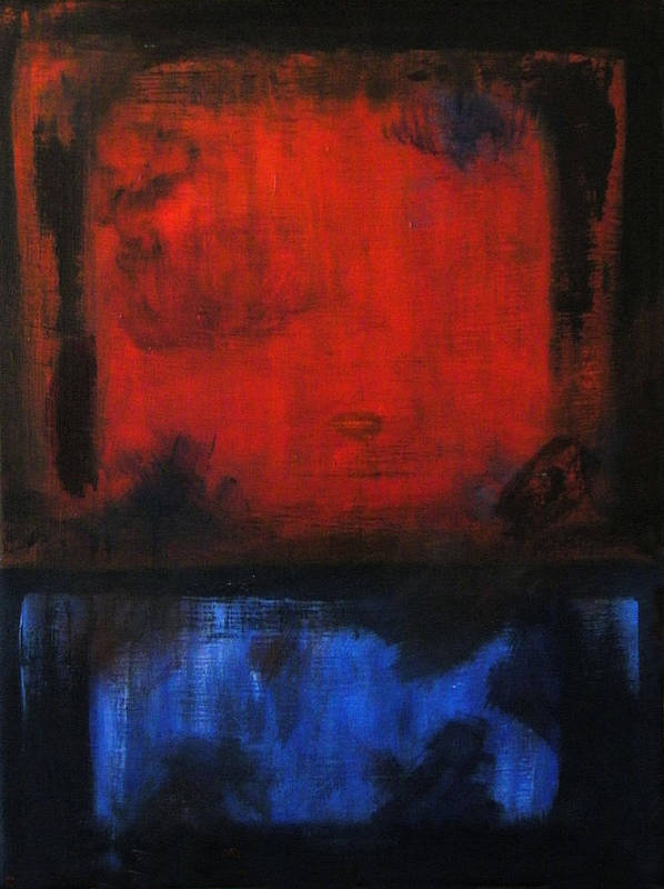 Red Art Print featuring the painting Well Weathered Denim by Santiago Rodriguez