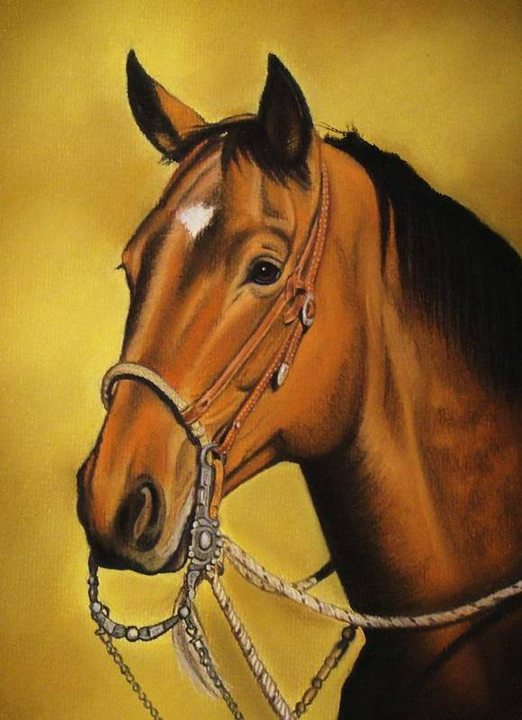 Horse Art Print featuring the pastel Western Horse by Lucy Deane