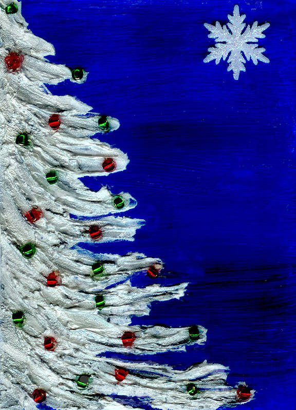 Christmas Art Print featuring the painting White Christmas Tree by BlondeRoots Productions