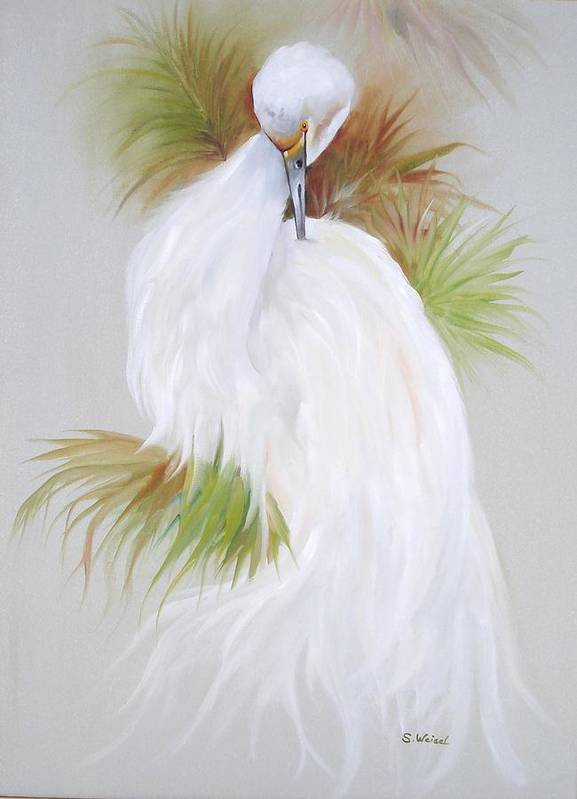 Animal Art Print featuring the painting White Egret by Sherry Winkler