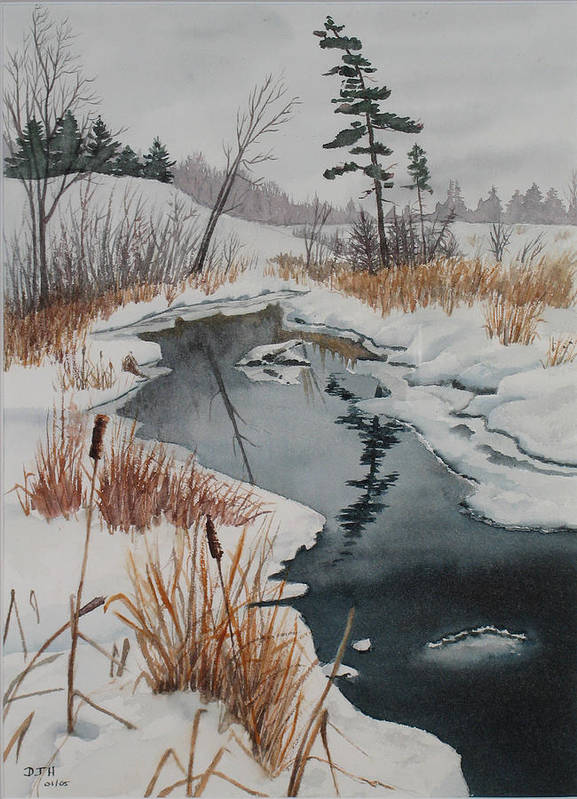 Winter Art Print featuring the painting Winter Reflection by Debbie Homewood