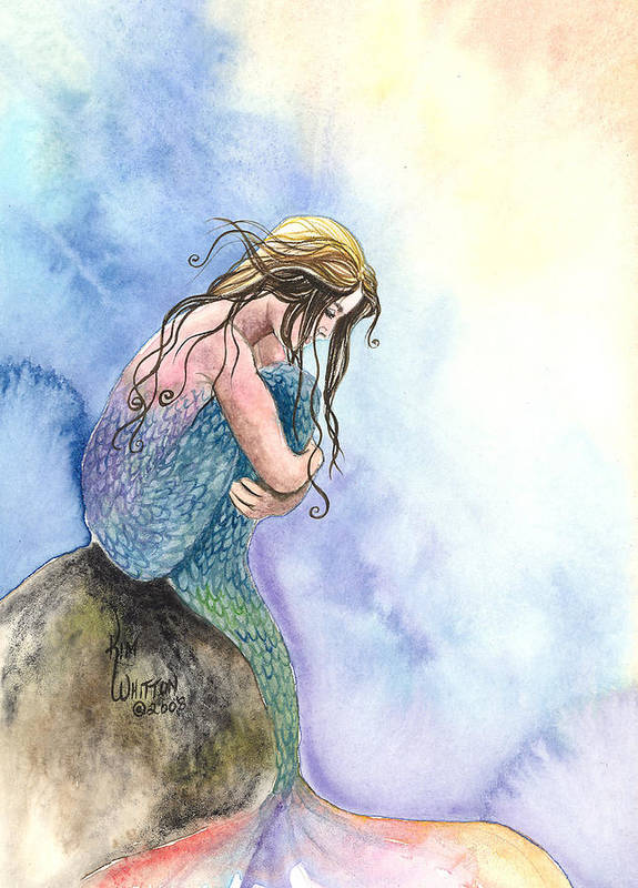 Mermaid Art Print featuring the painting Wishful Thinking by Kim Whitton