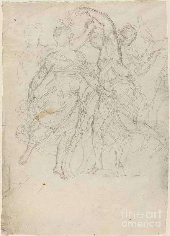 Art Print featuring the drawing Women Dancing by Pietro Fancelli