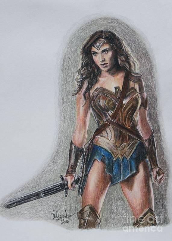 Wonder Woman Art Print featuring the drawing Wonder Woman by Christine Jepsen
