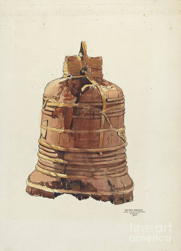 Art Print featuring the drawing Wooden Bell by Dayton Brown