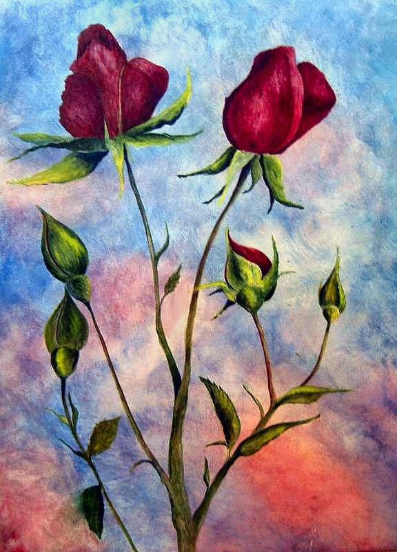Rose Art Print featuring the painting Woop Woop Rose by JoLyn Holladay