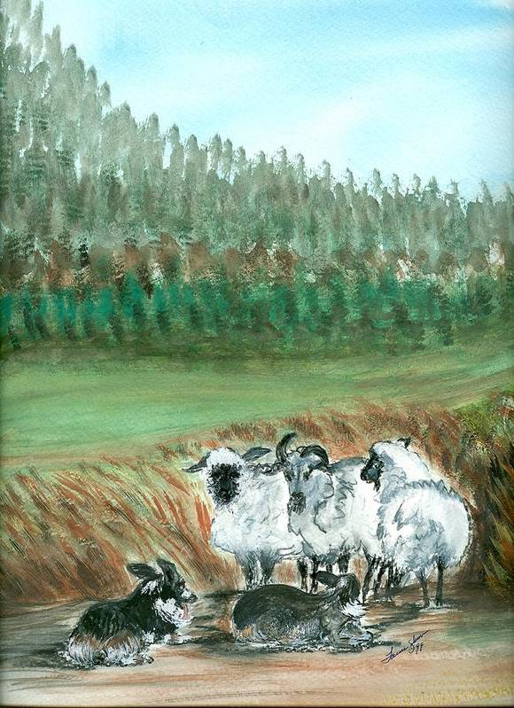 Dogs And Sheep Art Print featuring the painting Working Girls by Laura Johnson