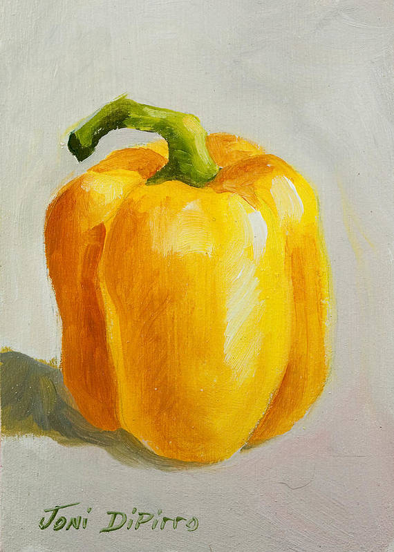 Red Art Print featuring the painting Yellow Bell Pepper by Joni Dipirro