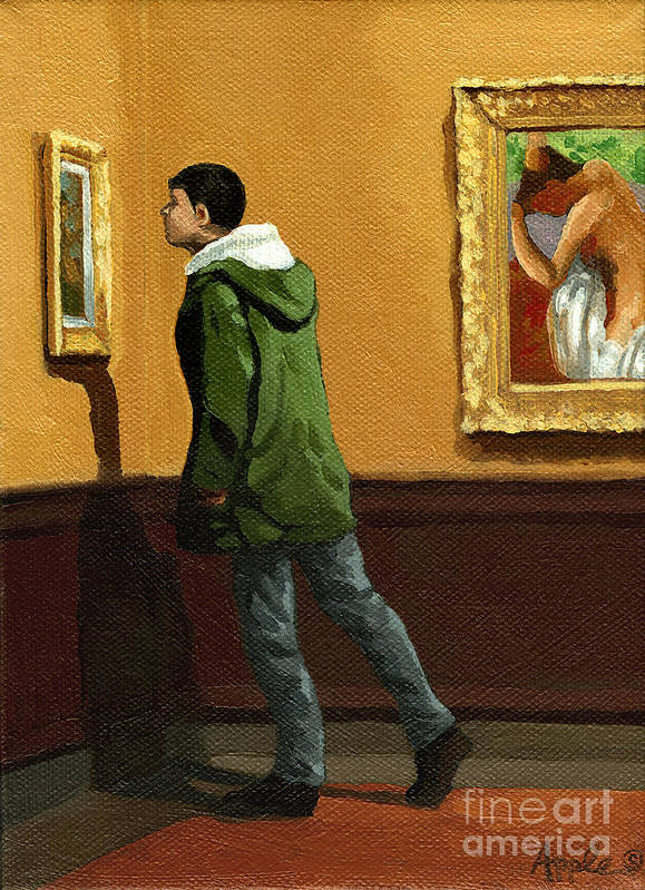 Artwork Art Print featuring the painting Young Man Viewing Art - Painting by Linda Apple