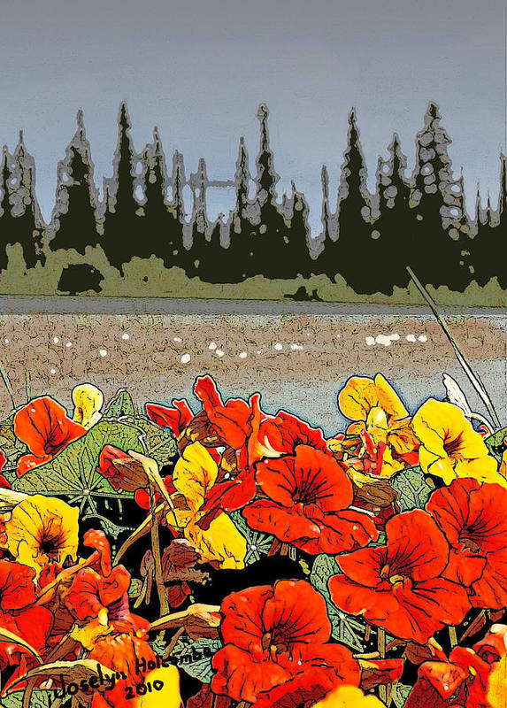 Landscape Art Print featuring the digital art Yukon Flowers by Joselyn Holcombe