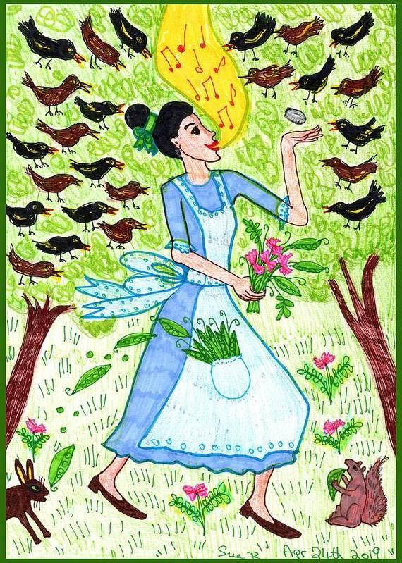 Nursery Rhyme Art Print featuring the drawing A Pocketful Of Peas 1 by Sushila Burgess