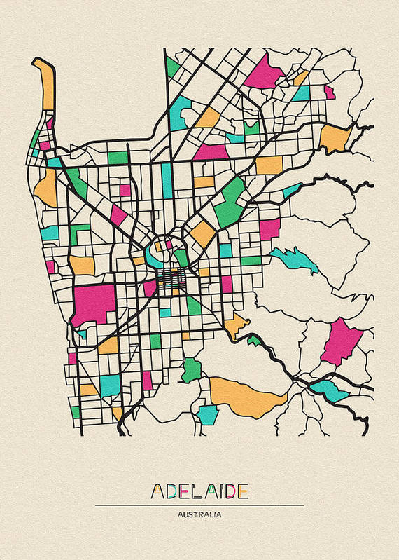 Adelaide Map Of Australia.Adelaide Australia City Map Art Print