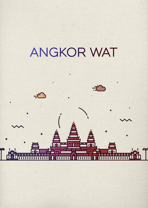 Angkor Wat Art Print featuring the mixed media Angkor Wat City Skyline Whimsical Fun Tall Bright Series by Design Turnpike