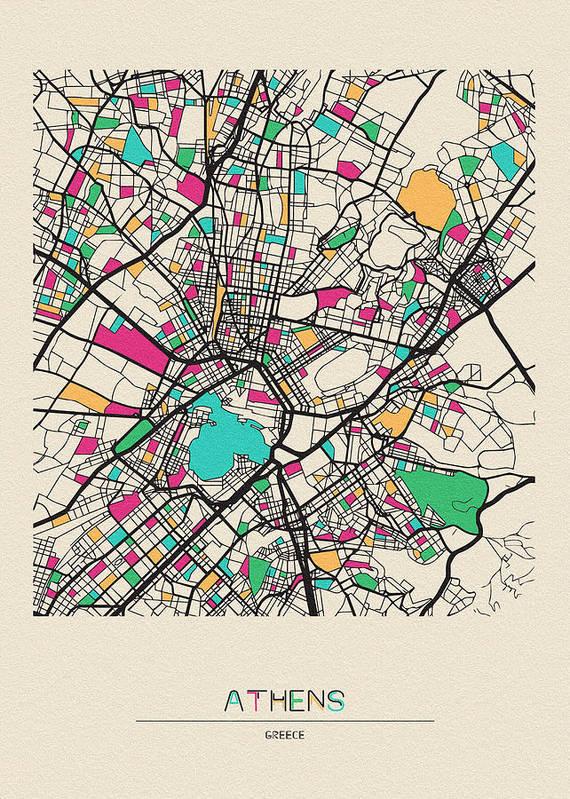 Athens, Greece City Map Art Print