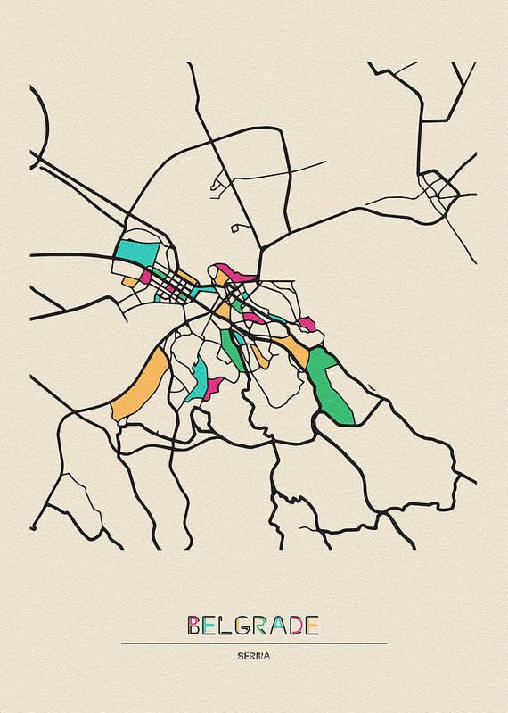 Belgrade, Serbia City Map Art Print