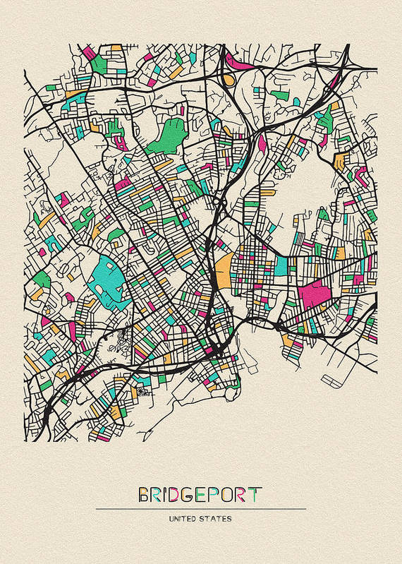Bridgeport Art Print featuring the drawing Bridgeport, United States City Map by Inspirowl Design