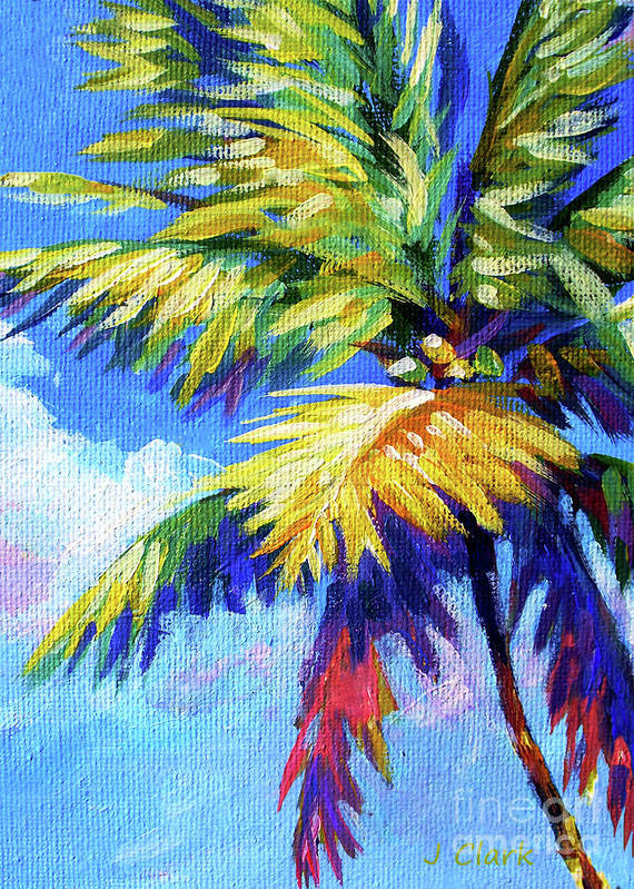 Bright Art Print featuring the painting Bright Palm 5x7 by John Clark