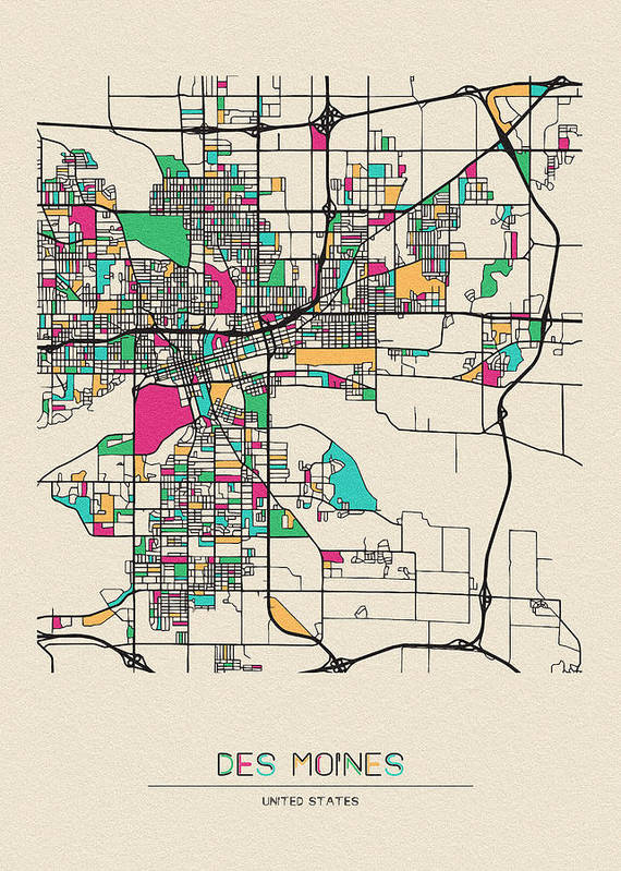 Des Moines Art Print featuring the drawing Des Moines, Iowa City Map by Inspirowl Design