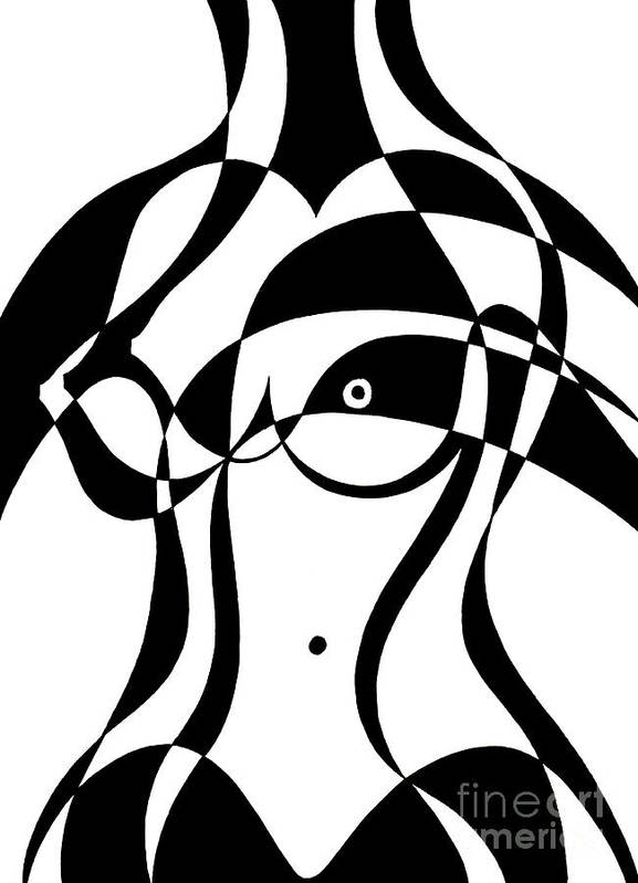 Nude Art Print featuring the painting Untitled, Female Nude Torso by Manuel Bennett