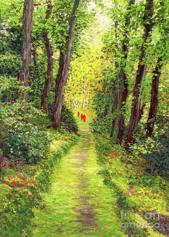 Meditation Art Print featuring the painting Walking Meditation by Jane Small