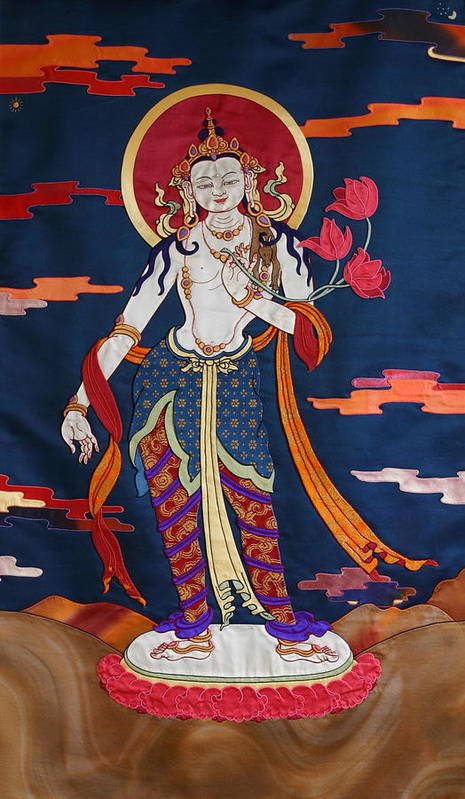 Padmapani. Thanka Art Print featuring the tapestry - textile Padmapani by Leslie Rinchen-Wongmo