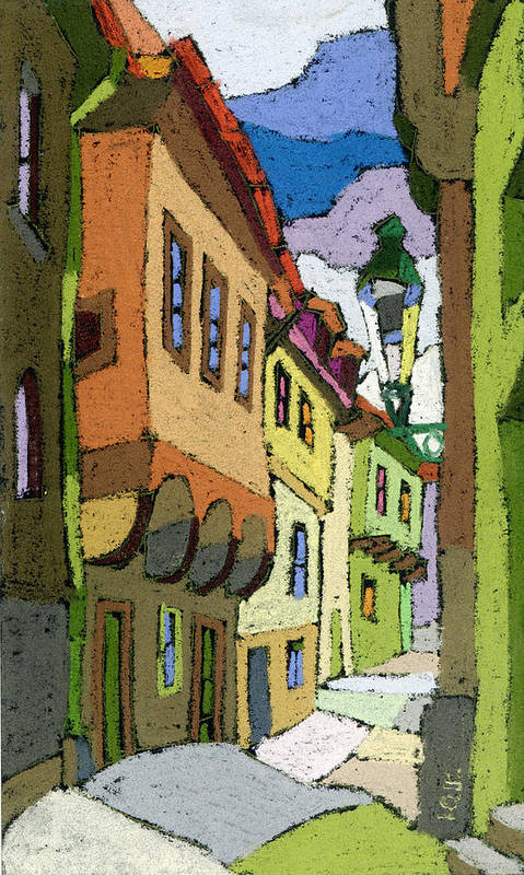 Pastel Art Print featuring the painting Chesky Krumlov Street Nove Mesto by Yuriy Shevchuk