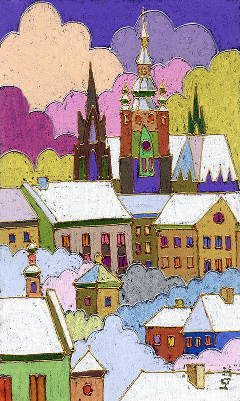 Pastel Art Print featuring the painting Prague Old Roofs Prague Castle Winter by Yuriy Shevchuk